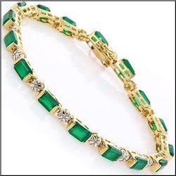 Plated 18KT Yellow Gold 12.33ctw Green Agate and Diamond Bracelet