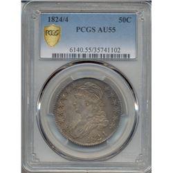 1824/4 Capped Bust Half Dollar PCGS AU55