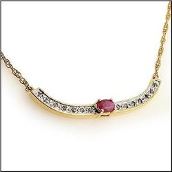 Plated 18KT Yellow Gold 1.72ct Ruby and Diamond Pendant with Chain