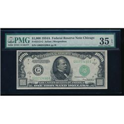 1934A $1000 Chicago Federal Reserve Note PMG 35EPQ