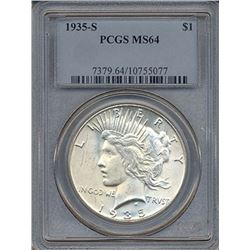 1935-S $1 Peace Silver Dollar Coin PCGS MS64