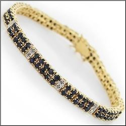 Plated 18KT Yellow Gold 15.88ctw Black Sapphire and Diamond Bracelet