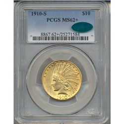 1910-S $10 Indian Head Eagle Gold Coin PCGS MS62+ CAC