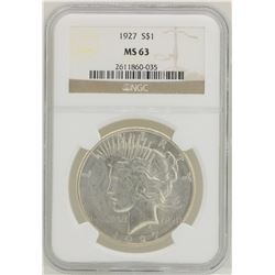 1927 $1 Peace Silver Dollar Coin NGC MS63