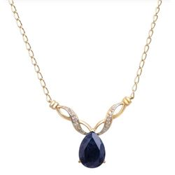 Plated 18KT Yellow Gold 4.18ct Black Sapphire and Diamond Pendant with Chain