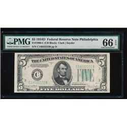 1934D $5 Philadelphia Federal Reserve Note PMG 66EPQ