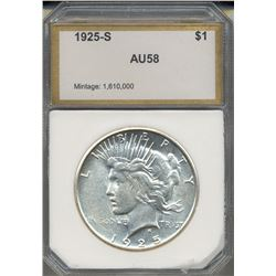 1925-S $1 Peace Silver Dollar Coin PCI AU58