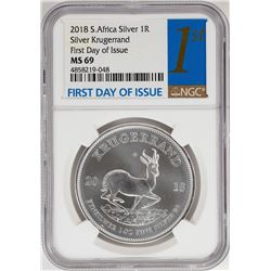 2018 South Africa Krugerrand Silver Coin NGC MS69 First Day of Issue