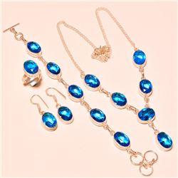 4 Piece Swiss Blue Topaz Jewelry Set
