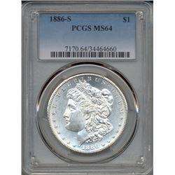 1886-S $1 Morgan Silver Dollar Coin PCGS MS64