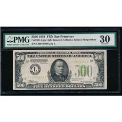1934 $500 San Francisco Federal Reserve Note PMG 30