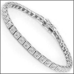 Plated Rhodium 0.34ctw Diamond Bracelet
