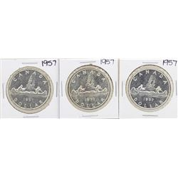 Lot of (3) 1957 $1 Canada Silver Dollar Coins