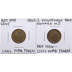 Lot of (2) 1863 Civil War Tokens