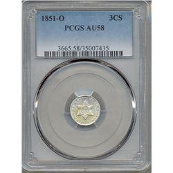 1851-O Three Cent Coin PCGS AU58