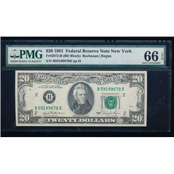 1981 $20 New York Federal Reserve Note PMG 66EPQ