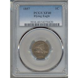 1857 Flying Eagle  One Cent Coin PCGS  XF40