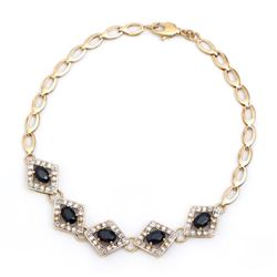 Plated 18KT Yellow Gold 7.88ctw Black Sapphire and Diamond Bracelet