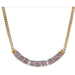 Plated 18KT Yellow Gold 6.14ctw Tanzanite and Diamond Pendant with Chain