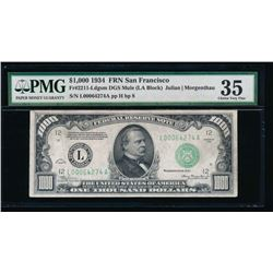 1934 $1000 San Francisco Federal Reserve Note PMG 35