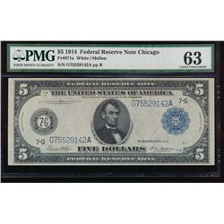 1914 $5 Chicago Federal Reserve Note PMG 63