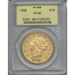 1880 $20 Liberty Head Double Eagle Gold Coin PCGS XF40