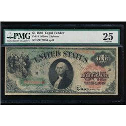 1869 $1 Legal Tender Note PMG 25