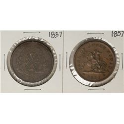 Lot of 1837 & 1857 Bank of Canada Penny Coins