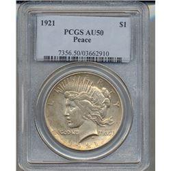 1921 $1 Peace Silver Dollar Coin PCGS AU50