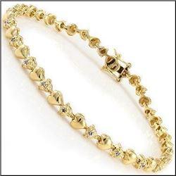 Plated 18KT Yellow Gold 0.57ctw Diamond Heart Bracelet