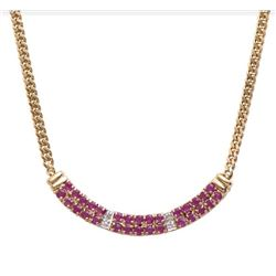 Plated 18KT Yellow Gold 6.18ctw Ruby and Diamond Pendant with Chain