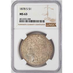 1878-S $1 Morgan Silver Dollar Coin NGC MS63