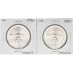Lot of (2) Brilliant Uncirculated 1980 Mexico Una Onza Casas De Moneda Silver Coins
