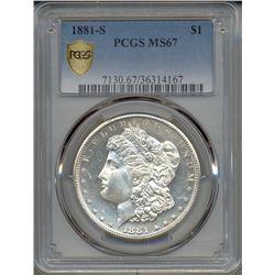 1881-S $1 Morgan Silver Dollar Coin PCGS MS67