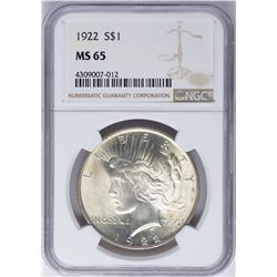 1922 $1 Peace Silver Dollar Coin NGC MS65 Nice Toning