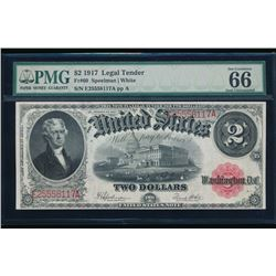 1917 $2 Legal Tender Note PMG 66
