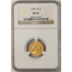 1929 $2 1/2 Indian Head Quarter Eagle Gold Coin NGC MS62