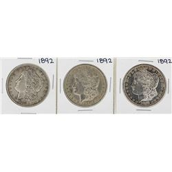 Lot of (3) 1892 $1 Morgan Silver Dollar Coins