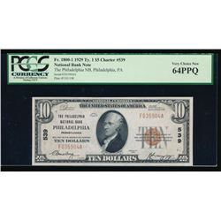 1929 $10 Philadelphia National Bank Note PCGS 64PPQ
