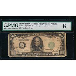 1934A $1000 Atlanta Federal Reserve Note PMG 8