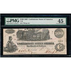 1862 $100 Confederate States of America Note PMG 45