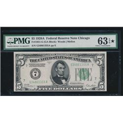 1928A $5 Chicago Federal Reserve Note PMG 63EPQ