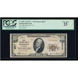 1929 $10 Riverside National Bank Note PCGS 25PPQ