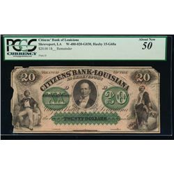 1800's $20 Citizens Bank Obsolete Note PCGS 50
