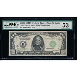 1934A $1000 St Louis Federal Reserve Note PMG 53
