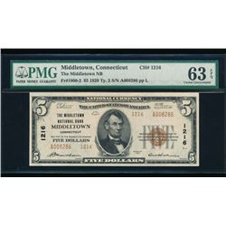 1929 $5 Middletown National Bank Note PMG 63EPQ