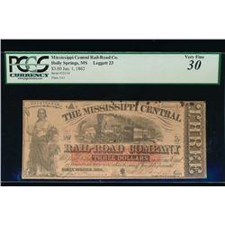 1862 $3 Rail Road Company Obsolete Note PCGS 30