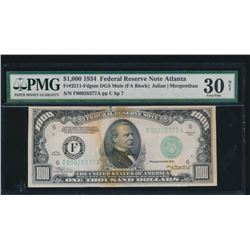1934 $1000 Atlanta Federal Reserve Note PMG 30NET
