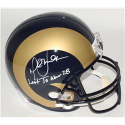 "Marshall Faulk Signed Rams Full-Size Helmet Inscribed ""Last To Wear 28"" (JSA COA)"