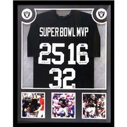 "Marcus Allen, Jim Plunkett  Fred Biletnikoff Signed 34x42 Custom Framed Jersey Inscribed ""Super Bowl"